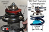 "This is a ""spotters guide"" for the OEM spring (or OEM style lowering spring) on the left vs a typical coilover spring on the right. Coilover springs are used with specific struts that have an adjustable lower spring perch on the strut body. The threaded perch can be raised or lowered to quickly change ride height. Coilover springs are usually 100-500% stiffer than the OEM springs, whereas OEM style lowering springs are usually 0-25% stiffer than stock. <br /> <br /> As you could imagine, coilover struts are made with different valving to work with these much stiffer spring rates. <br /> <br /> NOTE: The left side picture shows the 5th gen style ""spherical bearing holder"" assembly unbolted from the upper plate assembly... that's how this setup goes into the car during installation."