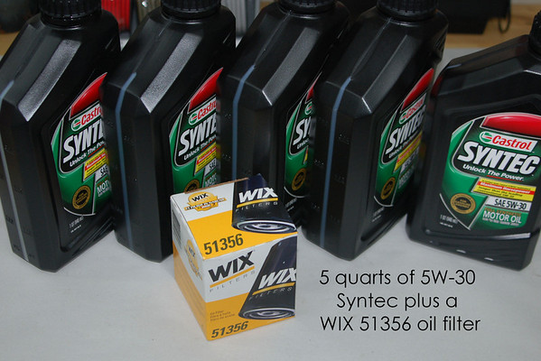 The EVO X uses 5 quarts of 5W20 or 5W30 oil. We always use synthetic oil (Mobile 1 or Syntec) and Wix or Mobile 1 oil filters.