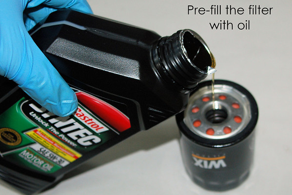 """Pre-fill the oil filter to as full as you can get it - this removes most of the """"dry start"""" time after an oil change."""