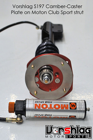 Close-up shot of the Vorshlag camber plate on the Moton Club Sport strut