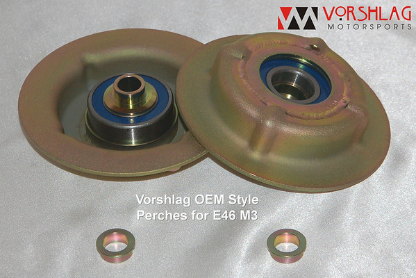 An example of a common Vorshlag upper spring perch. This set is made for a BMW E46 M3 to use a factory style spring and a Koni strut. <br /> <br /> You can see the double row radial bearing (blue seal), lower spool piece pressed into place (gold colored), and the upper spool pieces sitting below (these go into the top of the camber plate's spherical bearing and match up to the very top of the strut shaft). The strut top nut sits on the top flat surface of this upper spool.