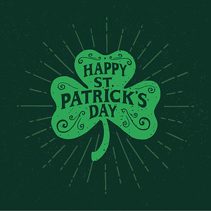 St.,Patrick's,Day.,Retro,Style,Emblems,Leaf,Clover.,Typography.,Vector