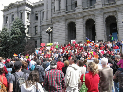 [Concurrently a very much smaller rally in opposition to the bill was on the east steps - not photographed.]