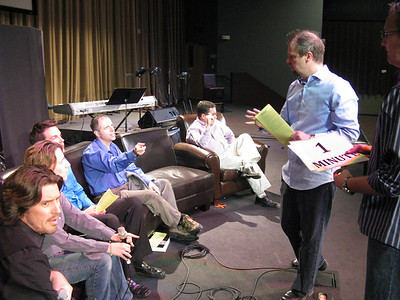 """Three panelists are gay and three are """"ex-gay."""" .. If they don't self-reveal, you'd never know! [The empty seat is for Bill (taking the photo); Wes in middle now.]"""
