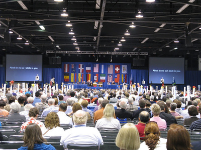I believe the flags represent countries in which the Episcopal Church has churches or missions, and they would have delegates present.