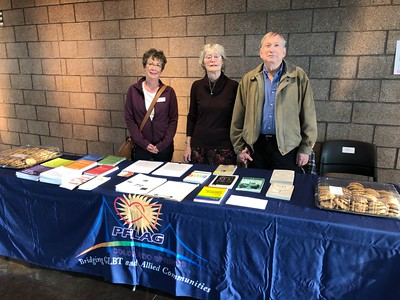 Cindy, Karen and John with PFLAG literature and cookies - PFLAG website below: