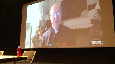 VIDEO - one minute.  .. Turn your volume to the max, but still hard to hear. .. He's talking about the gifts LGBT people bring to the Church.