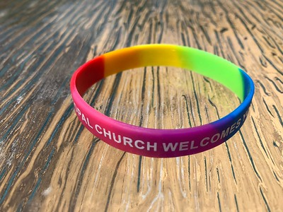 """2) ..Rainbow wristband - """"The Episcopal Church Welcomes You"""""""