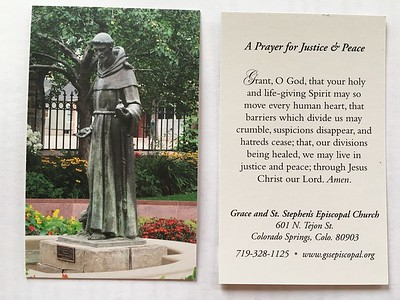 Fr. Brendan's beautiful new prayer card arrived just in time as a handout.  .. About 2.4x4.0 inches.