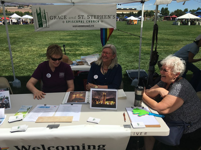 OK - Sunday morning now.  Stormy and Candice visited by Carol from our neighboring PFLAG booth.