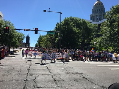 The very long Pride parade about to end after turning from Colfax onto Lincoln. .. I caught the middle section.