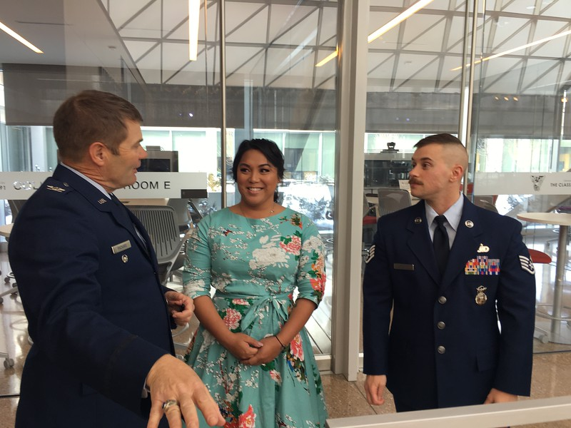 Thursday morning, about to start the first of their four presentations over two days - Col Gary Packard  with Laila & Logan Ireland.
