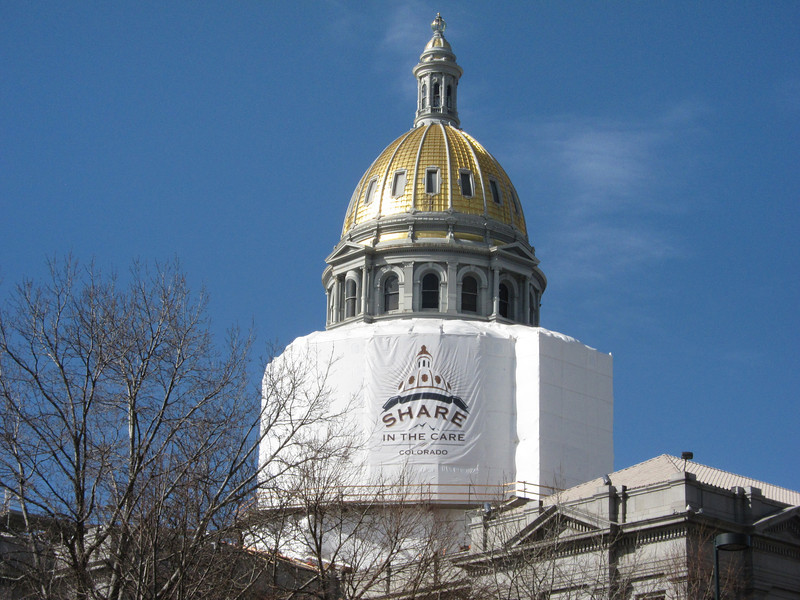 The dome is covered in Colorado gold. .. Though a very thin layer, it shines!