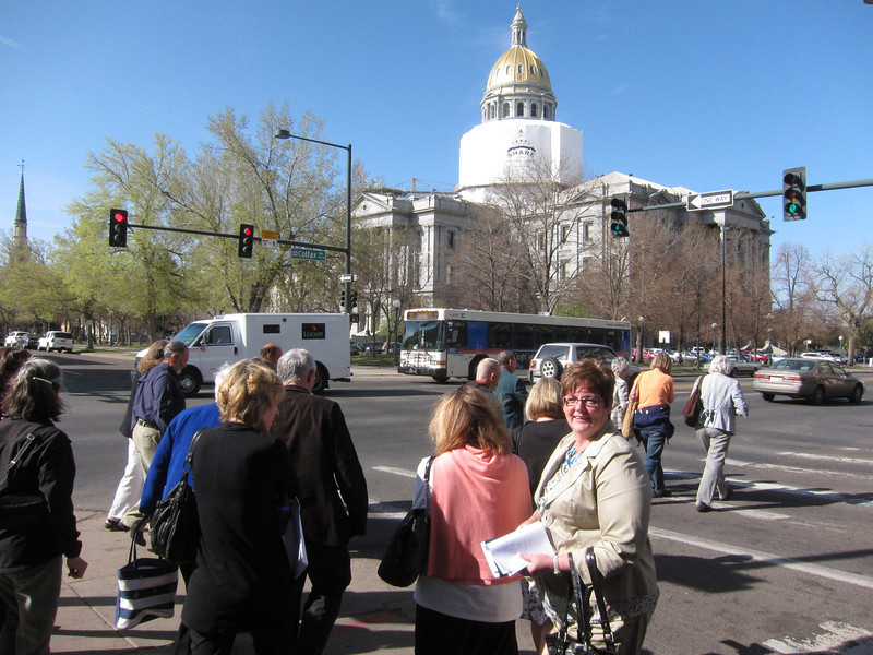 Thursday morning - after our briefing by One Colorado. ... Now heading across the street to the Capitol. [Jackie on the right.] ... http://www.one-colorado.org/