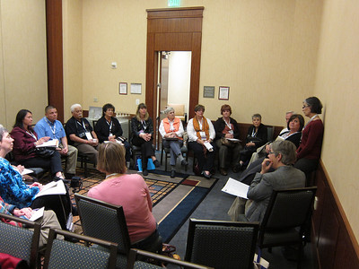 A meeting of the PFLAG Mountain West Region (UT, AZ, CO, NM & WY), led by Kathy Godwin, standing.