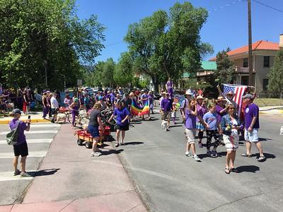 Marchers were invited to wear purple.