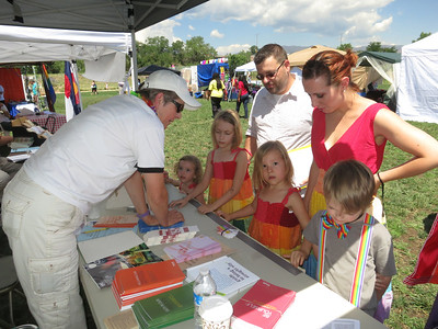Saturday morning at America the Beautiful Park - the PFLAG booth.