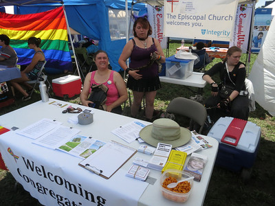 The Welcoming Congregations booth (adjacent to PFLAG) with staffing by Rev. Kim Schwartz from Vista Grande Community Church.