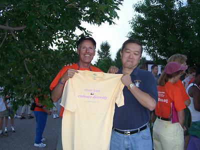 Cheak scores on a shirt from the Matthew Shepard Foundation. http://www.matthewshepard.org/