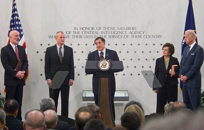 Leon Panetta  is sworn in as Director of the Central Intelligence Agency (CIA) by US Vice President Joe Biden at the CIA Headquarters in Langley, Va.  Director of National Intelligence (DNI) Dennis Blair (L)and Mrs. Penetta and the Deputy Director of the CIA , Stephen Kappes stand nearby.