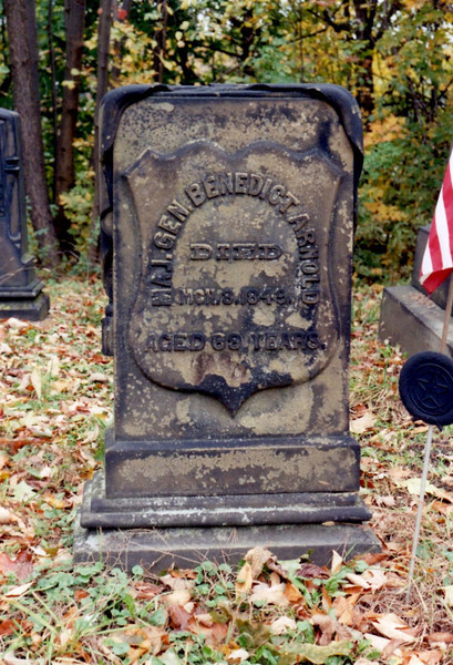 Closeup of the grave of Congressman Benedict Arnold. He served as a Major General in