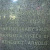 Script on the stone, including the erroneous reference that James' wife was the sister of Benedict Arnold.