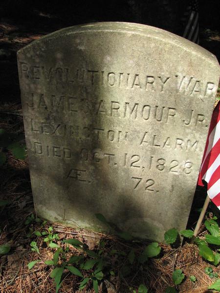 Close up of the Rev War gravemarker.