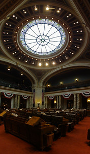 This is the State Assembly Chamber at the capitol building in Madison. A rare quiet moment in March of 2010.