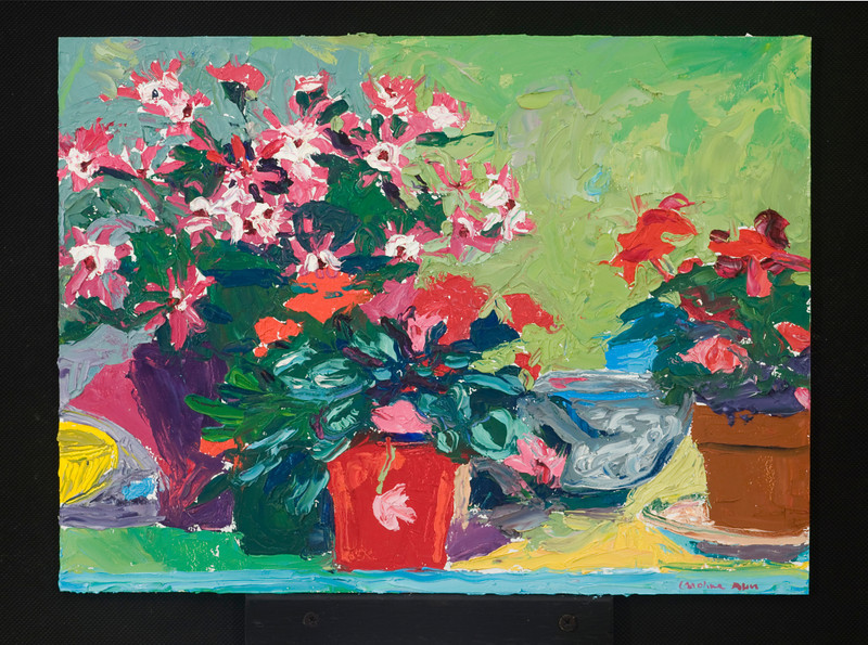 "flowers on counter, 2006, 12""x16"", oil on panel"