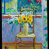 "Sunflowers, chair, and purple shoe, 2011, 24x36"", oil on canvas"