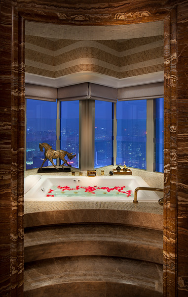 Presidential Suite bathtub at the Marco Polo Shenzhen hotel in Futian District, Shenzhen, Guangdong Province, China.