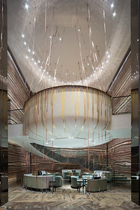 The lobby lounge at the W Hotel is seen in Tianhe District, Guangzhou, China.