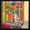 "flowers and kettle, 2006, 12""x12"", oil on canvas"