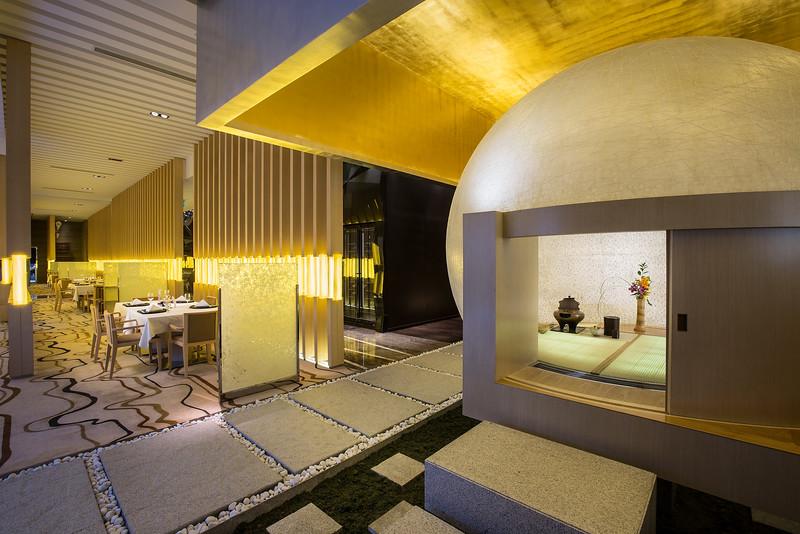 Interior at Yamazato restaurant in Hotel Okura, Macau.