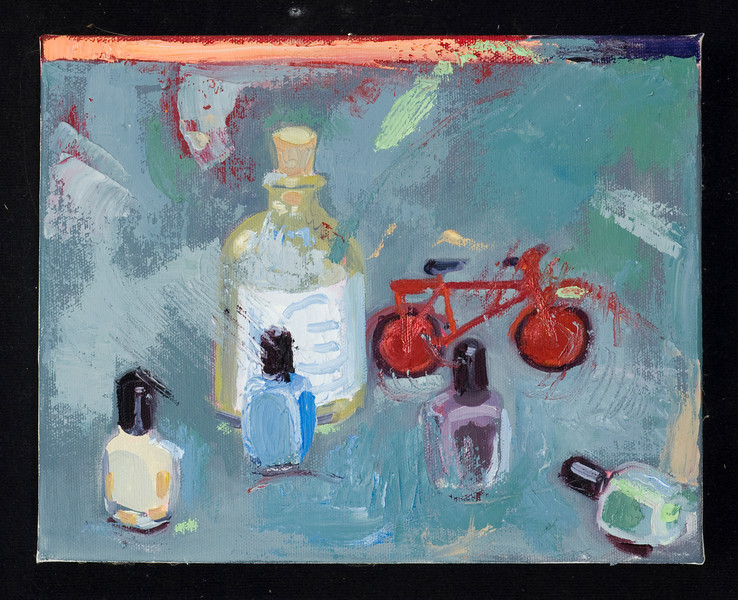 "red bike and fingernail polish, 2010, 8x10"", oil on canvas"