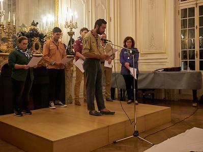 Texte lu par des représentants de chaque association, ici les Guides et Scouts d'Europe