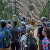 2018 RESESS and GeoLaunchpad interns had the opportunity to interact with CU Boulder faculty and graduate students, and chat about geology during the CU Mountain Research Station trip.  June 30, 2018.  Boulder, Colorado.  (Photo/Aisha Morris, UNAVCO)