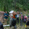 CU Boulder professor Kevin Mahan leads a discussion on local geology for 2018 RESESS and GeoLaunchpad interns during the CU Mountain Research Station trip.  June 30, 2018.  Boulder, Colorado.  (Photo/Aisha Morris, UNAVCO)