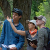 2018 RESESS interns Adelicia Johnson and Haley Snyder May chat with CU Boulder graduate student Enrique Chon during the CU Mountain Research Station trip.  June 30, 2018.  Boulder, Colorado.  (Photo/Aisha Morris, UNAVCO)