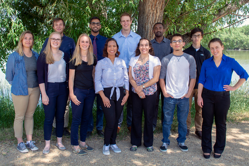 2018 USIP and Geo-Launchpad interns.  From back to front and left to right: Nate, Kawan, Jon, Tedesse, Sean, Samantha, Grace, Katie, Alexandrea, Justine, Santiago, and Diana.  Boulder, Colorado.  June 11, 2018.  (Photo/Daniel Zietlow, UNAVCO)