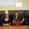 Geo-Launchpad interns Jessica Whiteaker (right) and Dana Downs (left) presents at UNAVCO's intern Colloquium, July 2015. (Photo/Beth Bartel, UNAVCO)