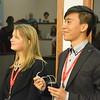 Nicole Ingraham and Alexis Ho-Liu present their summer's work during UNAVCO's intern colloquium, July 2015, Boulder, Colorado. (Photo/Beth Bartel, UNAVCO).