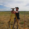 Alex Olsen-Mikitowicz sets up GPS base station at Boulder Reservoir.