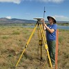 Laura Fakarhai enjoying a beautiful day at Boulder Reservoir setting up a GPS base station and recording the height.