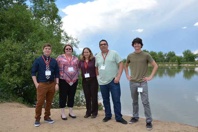 Group photos of Geo-Launchpad outside at Twin Lakes during orientation week. Left to right: Alex Olsen-Mikitowicz, Kelly Billings, Laurka Fakhrai, Eric Sheley, Bradley Norman. Boulder, CO. June 6, 2016. (Photo/Kelsey Russo-Nixon, UNAVCO)