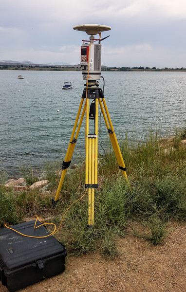 The terrestrial laser scanner and a Zephyr Geodetic GPS are set up at Boulder Reservoir, CO.
