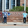 Geo-Launchpad poses in front of NOAA. Left to right: Kelsey Russo-Nixon, Bradley Norman, Eric Sheley, Alex Olsen-Mikitowicz, Laura Fakhrai, Kelly Billings. Boulder, CO. June 8, 2016. (Photo/Aisha Morris, UNAVCO)