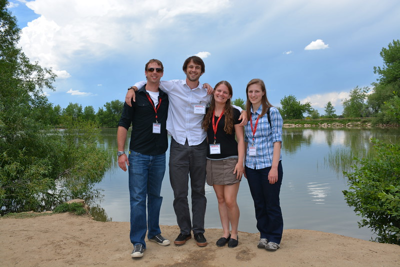 Group photos of USIP interns outside at Twin Lakes during orientation week. Left to right: Dan Zietlow, Bobby Nash, Sarah Moore, Meredith Kraner. Boulder, CO. June 6, 2016. (Photo/Kelsey Russo-Nixon, UNAVCO)