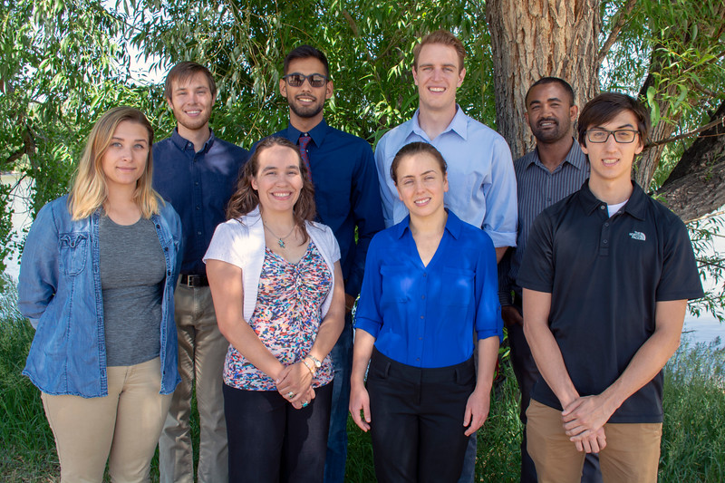 2018 USIP interns.  From back to front and left to right: Nate, Kawan, Jon, Tedesse, Samantha, Justine, Diana, and Sean.  Boulder, Colorado.  June 11, 2018.  (Photo/Daniel Zietlow, UNAVCO)