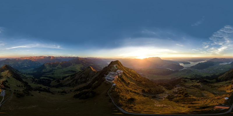 Aerial Sunset view over Stanserhorn